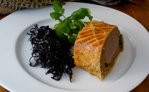 Venison Wellington with Spicy Red Cabbage